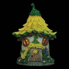 Sunflower Solar Fairy Cottage: Fairy Garden Miniature House
