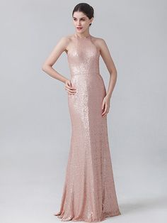 Pin to Win a Wedding Gown or 5 Bridesmaid Dresses! Simply pin your favorite dresses on www.forherandforhim.com to join the contest! | Halter Sequin Dress £139.71
