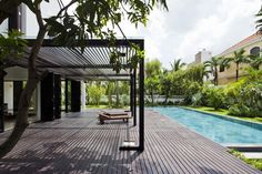 The Thao Dien House by MM++ Architects in Ho Chi Minh, Vietnam is a contemporary villa with a Mediterranean exterior. Building A Pergola, Pergola Plans, Pergola Ideas, Pergola Designs, Pool Designs, Villa, Design Jardin, Unique House Design, Modern Design