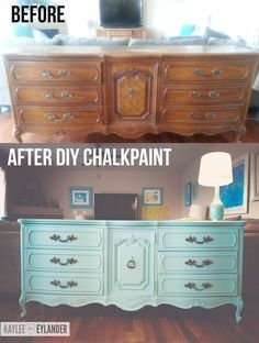 thrift store dresser diy | DIY Chalk Paint Recipe | Thrift Store Dresser Makeover | Lazy Painter ...