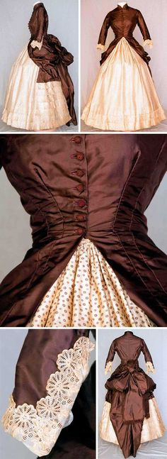 Circa 1880 Dress. Chocolate brown silk polonaise bodice dips at the sides to drape and form back bustle. Ten crochet ball buttons, embroidered lace cuffs, tan cotton lining. Cream silk twill skirt with tiny brown floral print, square insert in back of solid brown and bustle ties.