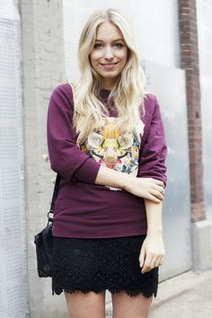 ELLE Netherlands: Sweatshirt * lace skirt: Storets * bag: Alexander Wang * necklace: Urban Outfitters