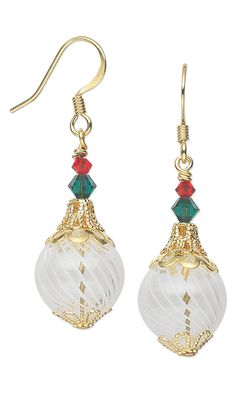 Christmas Ornament Earrings with Swarovski Crystal Beads and Gold-Plated Brass Bead Caps by Jamie Smedley. #ornaments #christmasjewelry