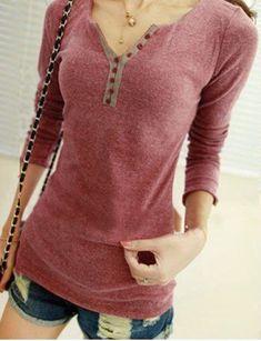 Casual V-Neck Long Sleeve Button Design Women's T-Shirt Women's Henley, Henley Shirts, Shirt Blouses, Cheap Long Sleeve Shirts, Cool Outfits, Casual Outfits, Look Fashion, Womens Fashion, T Dress