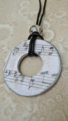 Decoupaged Washer Necklace Off white Sheet Music by savardstudios