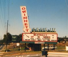 Named after Gwinnett County, Georgia, Gwinnett Drive-In was in the city of Norcross, part of the Atlanta metro region. Drive Inn Movies, Drive In Movie Theater, Starlite Drive In, Land Of The Lost, Georgie, Georgia On My Mind, Old Signs, Old Tv, Tv Commercials