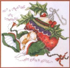 STONEY CREEK CHRISTMAS NOT EVEN A MOUSE CROSS STITCH CHART AND FABRIC