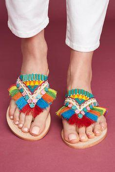 Slide View: 2: Manebi Rainbow Fringe Thong Sandals