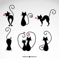 Dans les illustrations de chats d'amour de vecteur                              …