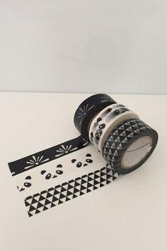 3 Rolls Dovecraft Washi Adhesive Tape Decorative Kawaii ~ Chalkboard Monochrome Black White Geomtric Triangles Panda Face