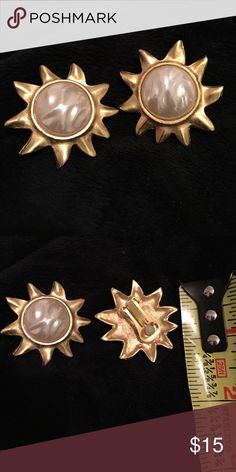 Gold and pearl sunburst clip-on fashion earrings Fun pop of gold and pearl clip-on earrings. Not real gold. California Boutique Jewelry Earrings