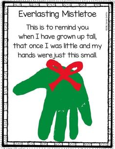handprint Christmas Crafts Christmas Mistletoe Handprint Poem by Little Learning Corner