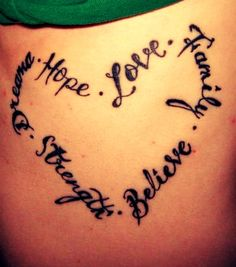 Hope Love Family Believe Strength Dreams Tattoo... This could be the one for me