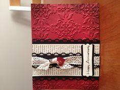 Anniversary card - vintage wallpaper embossing folder