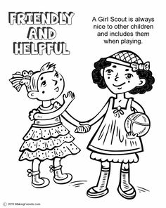 Daisy Girl Scout Yellow Petal, Friendly and Helpful  Print all the pages to make a coloring book to help learn the Girl Scout Law. Go onto MakingFriends.com to print them all!