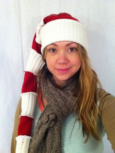 Wheres Waldo red and white stocking cap christmas hat upcycled by HopeFloats. $18.00, via Etsy.