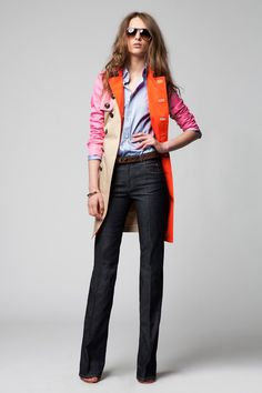 jeans with chambray/blue button down and pop of neon