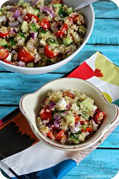 TAKE A BITE OUT OF BOCA: Cucumber Tomato Salad with Quinoa and Ricotta Salata - Guest Post from Cooking in Stilettos