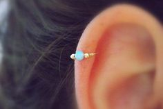 Ear Piercing Ideas - Opal Cartilage Helix Piercing Jewelry Earring Ring Jewellery at MyBodiArt.com