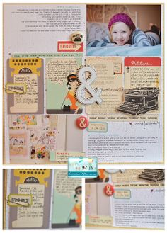 cute october afternoon page [project life inspiration -luv the vintage /retro cards]