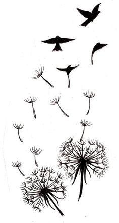 [ Modèle de tatouage à imprimer : dessin tatouage femme&homme dandelions with seeds that turn into birds as a tattoo pattern Dandelion Bird Tattoos, Tatoo Bird, Feather Tattoos, Bird Silhouette Tattoos, Silhouette Art, Tatoo Brothers, Tattoo Muster, Tattoo Templates, Tattoo Zeichnungen