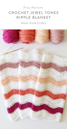 Crochet Afghan Patterns Free Pattern - Crochet Jewel Tones Ripple Blanket - I've been trying to use up a lot of my fall colored yarn before I start getting into winter mode,… Crochet Daisy, Manta Crochet, Diy Crochet, Crochet Crafts, Crochet Hooks, Crochet Ideas, Crochet Afghans, Afghan Crochet Patterns, Crochet Stitches