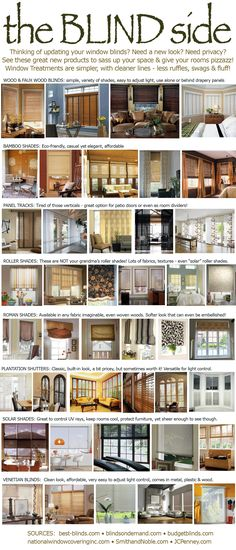 Options for Window Blinds Too many choices these days.  Lots to think about