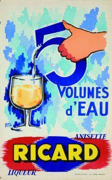 By Henri Couve, Cinq volumes d'eau, Anisette ricard.
