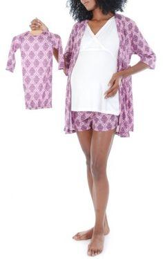 Women's Everly Grey 'Daphne - During & After' 5-Piece Maternity Sleepwear Set
