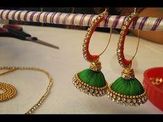 making of ring model silk thread jhumkas with pearl video Silk Thread Earrings Designs, Silk Thread Bangles Design, Silk Thread Necklace, Beaded Necklace Patterns, Thread Jewellery, Jewelry Patterns, Diy Jewellery, Small Earrings, Bead Earrings