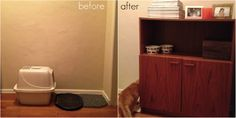 Thrifted Cabinet Refurbish 27 Useful DIY Solutions For Hiding The Litter Box Animal Projects, Diy Projects, Cat Litter Cabinet, Hidden Litter Boxes, Cat Care Tips, Pet Tips, Dog Care, Diy Cabinets, Diy Stuffed Animals