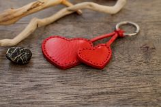 Leather Keychain Leather Keyring Key Fob Gift for Him Gift Leather Key Holder, Leather Key Case, Leather Keyring, Diy Bag Charm, Cute Keychain, Keychains, Heart Keyring, Leather Stamps, Car Accessories For Girls