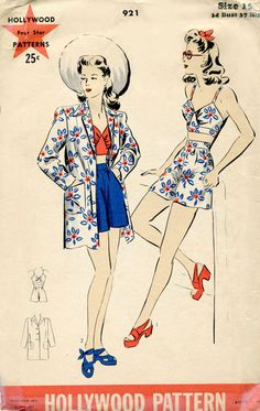 Vintage Sunwear Pattern Hollywood 921 1940s Sun Suit with Halter Top Shorts and Jacket Size Size 16. $48.00, via Etsy.