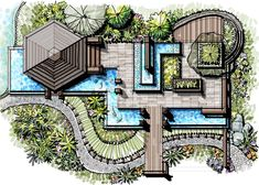 ideas for garden modern landscaping trees Landscape Architecture Drawing, Landscape Design Plans, Garden Design Plans, Garden Architecture, Architecture Master Plan, Roof Garden Plan, Architecture Apps, Landscape Edging, The Plan