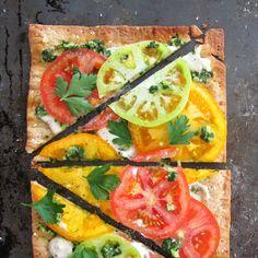 Summer Tomato Flatbread Pizza with Savory Cashew Cream and Quick Fresh Pesto