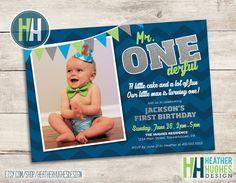 boy first birthday invite, 1st birthday printable invitation, mr ONEderful navy blue chevron silver glitter lime green customize personalize