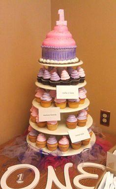 First Birthday Cupcake Tower