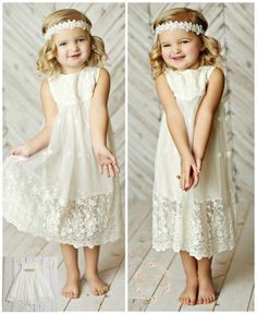 Off White lace flower girl dress girls lace by SweetValentina