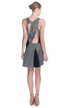 Cris Barros Asymmetric Two-Tone Silk Dress at Moda Operandi