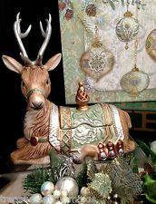 Stunning Fitz & Floyd Gregorian Reindeer Lidded Box Christmas Deer Holiday Decor