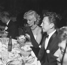 Marilyn Monroe & Donald O'Connor 1950s ~ hey, isn't that DWTS judge Len Goodman on the other side of Marilyn? hehe