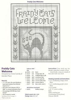 Fraidy Cats Welcome • 2/2 Chart, Colour Key and Stitching Directions