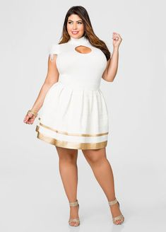 Cream And Gold Bandage Flare Skirt-Plus Size Skirts-Ashley Stewart Look Plus Size, Plus Size Women, Plus Size Skirts, Plus Size Outfits, Curvy Girl Fashion, Plus Size Fashion, Skirt Fashion, Fashion Outfits, Womens Fashion