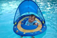 I love this baby pool floaty. My son stayed in it for a long time. We could put little toys around the rim to keep him occupied and it keeps the sun off of him too!