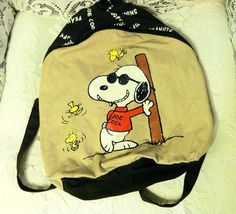 Snoopy Backpack Cool Woodstock Brown Black by VintyThreads on Etsy, $14.11