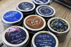 Set of 100 - Wedding Candle Favor, 2oz Tins with Custom Labels, Wedding Favor Candle, Personalized Wedding Favor, Boheim BOHO