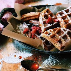 I threw a large handful of Belgian Pearl Sugar in our waffles this morning for crunch and personality! LOVE!!  I highly recommend. Kinda made these on @Instagram Stories...we're still getting to know each other.  This recipe is on the blog, link in profile.  Oh, and I made a quick strawberry syrup!! What are you guys making today? I see pizza on our horizon...with garden zucchini and I'm thinking about getting freaky with herbs and cheese.  You guys? Are we staying in our pajama...