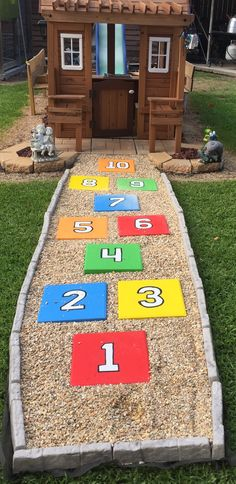 Hopscotch Finally finished! Now it's time to learn colors and numbers with these adorable painted number pavers