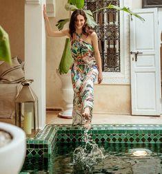 Hát nélküli női ruha ecrü mintás - Promod