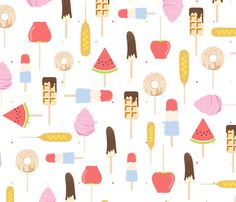 Custom Fabric, Spoonflower, My Best Friend, Fabric Design, Home Accessories, My Favorite Things, Watercolor Print, Waffle, Doughnut